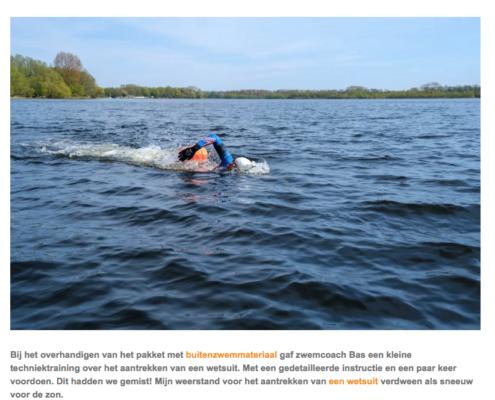 Screenshot van blog Zwemmen in het buitenwater - Foto: Personal Swimming